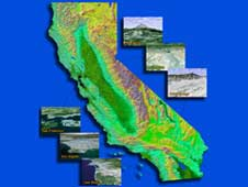 3D topographical map of California