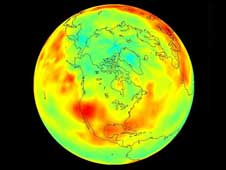 July 2007 view of Earth showing carbon dioxide levels