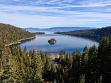 Tahoe, seen here from Emerald Bay, was one of the primary validation sites for the global lake study. The lake, which straddles the borders of California and Nevada, is the largest alpine lake in North America.
