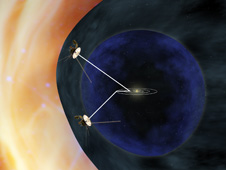 artist concept of Voyagers approaching interstellar space