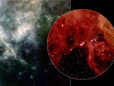 This layout compares two pictures of a supernova remnant called SN 1987A