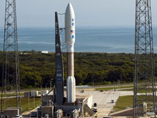 NASA's Juno spacecraft awaits launch from inside the payload fairing atop a United Launch Alliance Atlas V-551