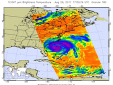 Infrared image of Hurricane Irene taken at 1:59 p.m. EDT (17:59 UTC) on Aug. 26, 2011