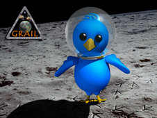 This artist's concept of an astronaut bird on the moon illustrates the space enthusiast community on Twitter.