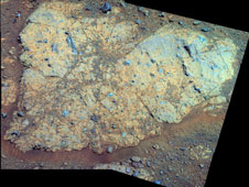 'Chester Lake' Bedrock on Rim of Endeavour Crater (False Color)