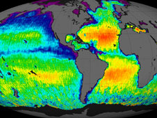 The first global map of the salinity, or saltiness, of Earth's ocean surface.
