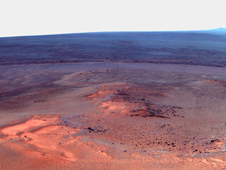 Opportunity's Eighth Anniversary View From 'Greeley Haven' (False Color)