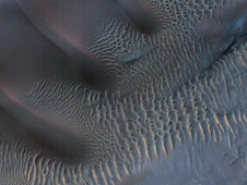 Sand dunes trapped in an impact crater in Noachis Terra on Mars