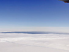 A large, miles-long crack was plainly  visible across the ice shelf on the Pine Island Glacier