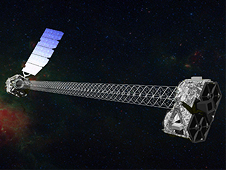 Artist's concept of NuSTAR on orbit. NuSTAR has a 10-m (30') mast that deploys after launch to separate the optics modules (right) from the detectors in the focal plane (left).