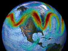 The jet stream that circles Earth's north pole travels west to east.
