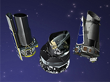 From left to right, artist's concepts of the Spitzer, Kepler and Planck space telescopes.