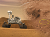 This artist's concept features NASA's Mars Science Laboratory Curiosity rover next to its landing site at Gale Crater.