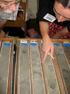 Palynologist and study co-autho examine some of the ANDRILL sediment core samples used in the Nature Geoscience Antarctica study