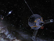 An artist's view of a Pioneer spacecraft heading into interstellar space.