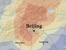 Satellite image and illustration composite showing pollution in Beijing between 2007 and 2008
