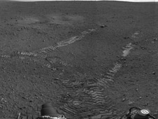 This 360-degree panorama shows evidence of a successful first test drive for NASA's Curiosity rover