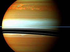 These red, orange and green clouds (false color) in Saturn's northern hemisphere indicate the tail end of a  massive storm