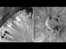 These mosaic images from NASA's Dawn mission show how dark, carbon-rich materials tend to speckle the rims of smaller craters.