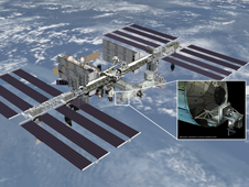 Artist's rendering of NASA's ISS-RapidScat instrument (inset)