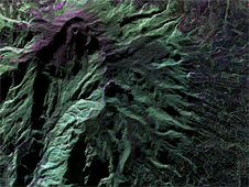 False-color image of Colombia's Galeras Volcano