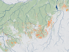 Map showing fires in the Amazon forest between 1999 and 2010