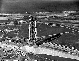 Apollo 11 stands on launch pad 39A in 1969.