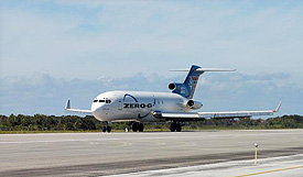 ZERO-G's plane takes off from the runway.