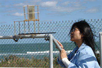 Graduate student Wendy Li at the Beach Site Corrosion Lab