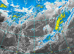 Infrared imagery of the Atlantic Ocean as seen from the GOES-East satellite