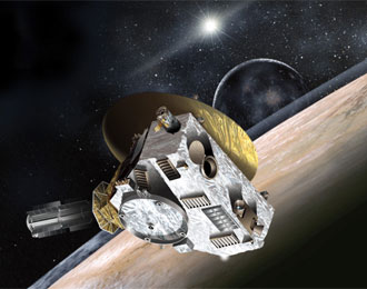 Artist's rendering of New Horizons with Pluto and Charon