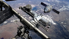 Artist's rendering of rendezvous and docking operations at the ISS.