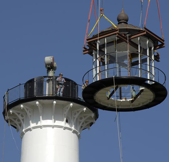 Lighthouse lantern room is replaced.