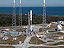 An aerial view of New Horizons atop an Atlas V rocket poised for launch.