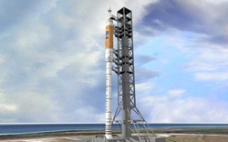 The Ares I booster will carry the Orion capsule into orbit.