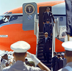President John F. Kennedy arrives to tour Complex 37