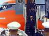 President John F. Kennedy is welcomed by a color guard while touring Complex 37 in September 1962.