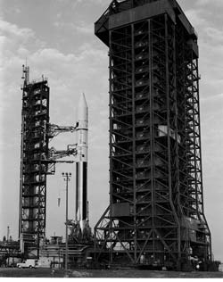 An Atlas-Centaur rocket is readied for launch.