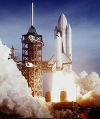 STS-1 launches into space