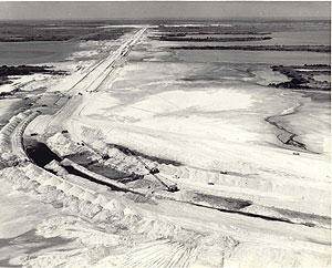 Construction of the crawlerway at Kennedy Space Center