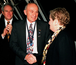 Bob Sieck, shuttle program director with Secretary of State Madeleine Albright