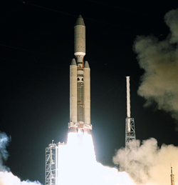 A Titan IV rocket launches the Cassini spacecraft
