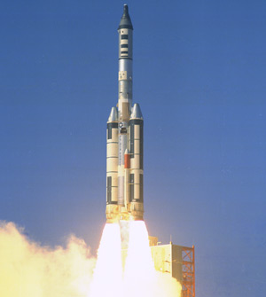 A Titan IIIC carrying a Manned Orbiting Laboratory simulator and capsule launches.