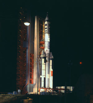 The Manned Orbiting Laboratory stands ready for launch.