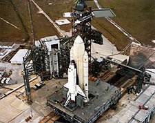 Space Shuttle Columbia arrives at launch pad 39A