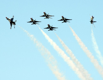 The Thunderbirds break up the delta formation to start their performance.