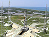 Artist's concept of the Launch Pad 39B Lightning Protection System and Ares rocket.