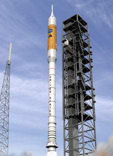 The Ares I rocket will lift astronauts into space.