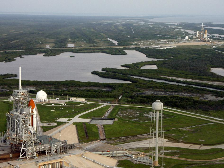 Space shuttles Endeavour and Atlantis on the pads at Launch Complex 39.