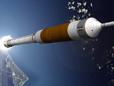 Concept image of NASA's Ares I crew launch vehicle.